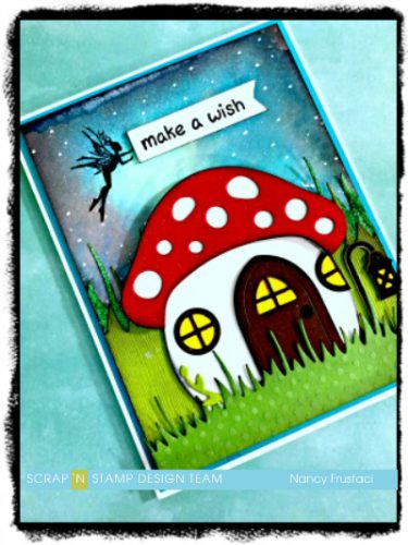 Magical Mushroom card, created with distress oxide spray and Lawn fawn mushroom house die