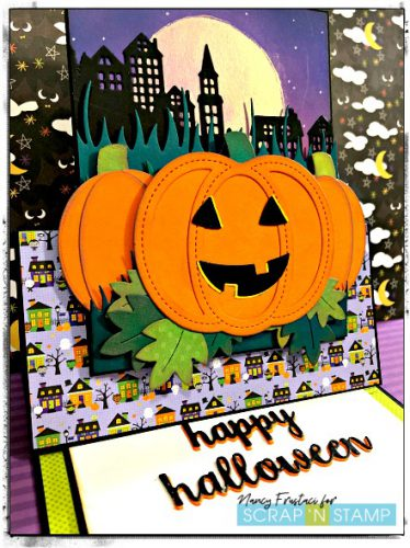 Easel Halloween card, featuring Lawn Fawn Stitched Pumpkin dies distress oxides and pattern paper