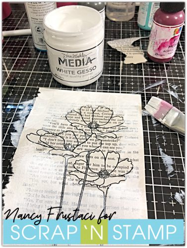 mixed media pages, stamped the floral  blooms on to pages of an old book and heat set it with some embossing powder. I then added gesso around the flowers