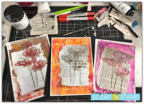 adding the flowers too some previously created gel pressed backgrounds